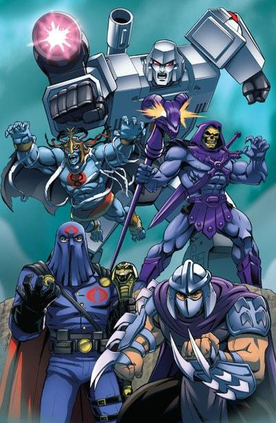 Megatron, Shredder, Cobra Commander, Skeletor, and Mumm-Ra
